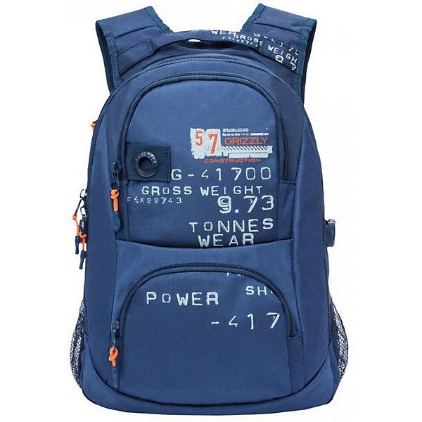 Рюкзак Grizzly, синийРюкзаки<br>Характеристики:<br><br>• молодежный рюкзак;<br>• жесткая анатомическая спинка;<br>• укрепленные лямки;<br>• дополнительная укрепленная ручка;<br>• замок: молния;<br>• полужесткое дно;<br>• вмещает формат А4;<br>• брелок для ключей;<br>• материал: полиэстер;<br>• размер рюкзака: 30х42х19 см;<br>• вес: 850 гр.<br><br>Городской рюкзак Grizzly имеет два отделения, два объемных кармана на молнии на передней стенке, боковые карманы из сетки, внутренний карман,внутренний карман для электронных устройств, внутренний составной пенал-органайзер.<br><br>Grizzly Рюкзак синий можно купить в нашем интернет-магазине.<br>Ширина мм: 300; Глубина мм: 40; Высота мм: 420; Вес г: 850; Цвет: синий; Возраст от месяцев: 120; Возраст до месяцев: 2147483647; Пол: Мужской; Возраст: Детский; SKU: 8317336;