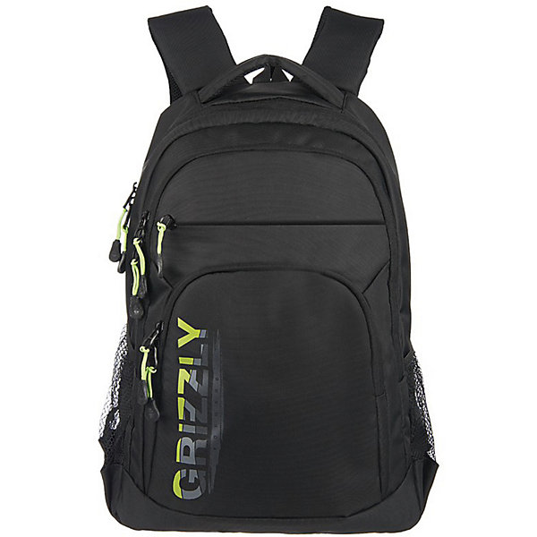 Рюкзак Grizzly, черный/салатовыйРюкзаки<br>Характеристики:<br><br>• молодежный рюкзак;<br>• анатомическая жесткая спинка;<br>• укрепленные лямки;<br>• нагрудная стяжка-фиксатор;<br>• дополнительная ручка-петля;<br>• полужесткое дно;<br>• вмещает формат А4;<br>• материал: полиэстер;<br>• размер рюкзака: 32х45х23 см;<br>• вес: 891 г;<br>• объем: 24 л.<br><br>Городской мужской рюкзак Grizzly имеет два отделения, объемный карман на молнии на передней стенке, боковые карманы из сетки, внутренний карман на молнии, внутренний составной пенал-органайзер, внутренний укрепленный карман для ноутбука, карман быстрого доступа в передней части рюкзака. Карманы застегиваются на молнию. <br><br>Grizzly Рюкзак черный можно купить в нашем интернет-магазине.<br>Ширина мм: 320; Глубина мм: 40; Высота мм: 450; Вес г: 891; Цвет: schwarz/gr?n; Возраст от месяцев: 120; Возраст до месяцев: 2147483647; Пол: Мужской; Возраст: Детский; SKU: 8317410;