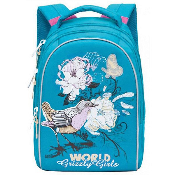 RG-868-2 рюкзак школьный /4 бирюзовыйРюкзаки<br>Характеристики:<br><br>• школьный рюкзак;<br>• жесткая анатомическая спинка;<br>• дополнительная ручка-петля;<br>• мягкая укрепленная ручка;<br>• укрепленные лямки;<br>• уплотненное дно;<br>• тип застежки: молния;<br>• светоотражающие элементы;<br>• вмещает формат А4;<br>• материал: полиэстер;<br>• размер рюкзака: 27х37х17 см;<br>• вес: 657 г.<br><br>Школьный рюкзак имеет два отделения, внутренний карман-пенал для карандашей. Рюкзак оснащен дополнительными мягкими подушечками из вентилируемого материала. Светоотражающие элементы с четырех сторон позволяют обозначить ребенка в темное время суток в условиях недостаточной видимости. Рюкзак представлен в нежно-лиловом цвете. <br><br>Grizzly Рюкзак школьный голубой можно купить в нашем интернет-магазине.<br>Ширина мм: 280; Глубина мм: 40; Высота мм: 410; Вес г: 760; Цвет: бирюзовый; Возраст от месяцев: 108; Возраст до месяцев: 144; Пол: Женский; Возраст: Детский; SKU: 8333794;