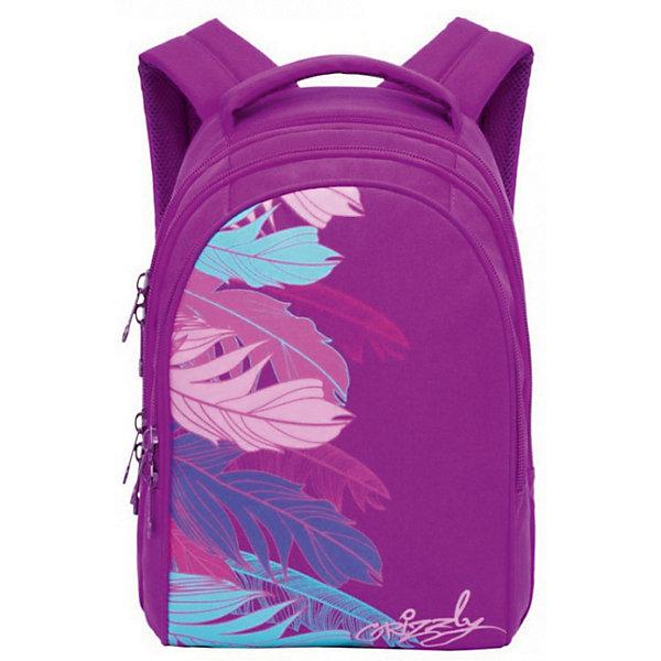 Рюкзак Grizzly, лиловыйРюкзаки<br>Характеристики:<br><br>• молодежный рюкзак;<br>• жесткая анатомическая спинка;<br>• мягкая укрепленная ручка;<br>• укрепленные лямки;<br>• уплотненное дно;<br>• тип застежки: молния;<br>• вмещает формат А4;<br>• материал: полиэстер;<br>• размер рюкзака: 28х41х20 см;<br>• вес: 855 г.<br><br>Молодежный рюкзак имеет три отделения, внутренний карман на молнии, внутренний карман-пенал для карандашей. Рюкзак представлен в черном цвете, декорирован ярким принтом в виде перьев. Внешний вид ранца дополняет логотип-аппликация бренда. <br><br>Grizzly Рюкзак фиолетовый можно купить в нашем интернет-магазине.<br>Ширина мм: 280; Глубина мм: 40; Высота мм: 410; Вес г: 855; Цвет: лиловый; Возраст от месяцев: 144; Возраст до месяцев: 2147483647; Пол: Женский; Возраст: Детский; SKU: 8333958;