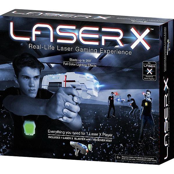 Набор игровой Laser X (1бластер, 1 мишень)Игрушечные пистолеты и бластеры<br>Игровой набор состоящий из одного бластера и 1 мишени для погружения из виртуальной игры в жизнь. Комплект предназначен для одного игрока. Со звуковыми и световаыми эффектами. Лазерные технологии не используются! Для работы одного бластера необходимы 3 батарейки типа ААА (в комплект не входят). Рекомендуется для детей старше 6 лет.<br>Ширина мм: 300; Глубина мм: 80; Высота мм: 260; Вес г: 553; Цвет: белый; Возраст от месяцев: 72; Возраст до месяцев: 180; Пол: Мужской; Возраст: Детский; SKU: 8335486;