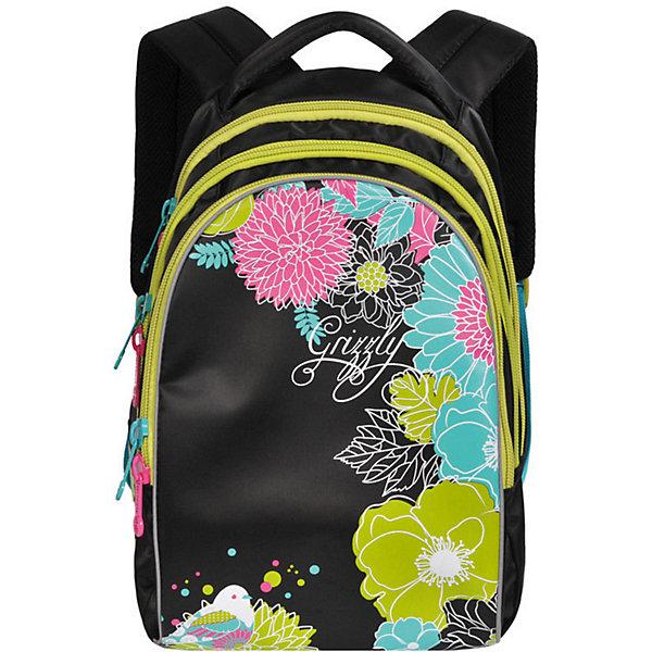 Рюкзак школьный Grizzly, чёрныйРюкзаки<br>Характеристики:<br><br>• возраст от: 6 лет;<br>• цвет: черный/цветочный принт;<br>• материал: нейлон;<br>• размер рюкзака: 28х41х20 см.;<br>• объем рюкзака: маленький (до 20 л.);<br>• вес рюкзака:900 гр.;<br>• тип рюкзака: повседневный, школьный;<br>• ососбенности: пенал-органайзер, светоотражающие вставки;<br>• спинка: анатомическая, воздухопроницаемая;<br>• тип застёжки: молния;<br>• количество отделений: 3 отделения;<br>• количество карманов: 1 внутренний;<br>• дополнительная ручка-петля;<br>• износостойкая обивка;<br>• регулируемые укрепленные лямки;<br>• стильный дизайн;<br>• бренд, страна бренда: Grizzly, Россия.<br><br>Школьный рюкзак Grizzly для девочки - это красивый и удобный рюкзак, который подойдет всем, кто хочет разнообразить свои школьные будни. Многофункциональный школьный рюкзак станет незаменимым спутником вашего ребенка в походах за знаниями. <br><br>Изделие выполнено из плотного материала и оформлено оригинальным принтом. Рюкзак имеет три основных отделения, закрывающихся на застежки-молнии с двумя бегунками. Анатомическая спинка дополнена эргономичными воздухопроницаемыми подушечками, которые обеспечивают удобство и комфорт при носке. Укрепленные регулируемые лямки рюкзака предохраняют мышцы спины ребенка от перенапряжения при длительном ношении. Рюкзак оснащен удобной текстильной ручкой для переноски в руке и светоотражающими вставками.<br><br>Школьный рюкзак Grizzly для девочки, черный/цветочный принт, можно купить в нашем интернет-магазине.<br>Ширина мм: 280; Глубина мм: 40; Высота мм: 410; Вес г: 908; Цвет: черный; Возраст от месяцев: 120; Возраст до месяцев: 2147483647; Пол: Женский; Возраст: Детский; SKU: 8339098;