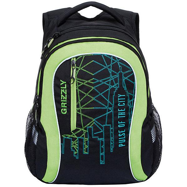 Рюкзак Grizzly, чёрный/салатовыйРюкзаки<br>Характеристики:<br><br>• возраст от: 10 лет;<br>• цвет: черный/салатовый;<br>• материал: полиэстер, нейлон;<br>• размер рюкзака: 33х41х18 см.;<br>• объем рюкзака: средний (20 -30 л.);<br>• вес рюкзака: 1 кг.;<br>• тип рюкзака: повседневный, городской;<br>• ососбенности: карман для ноутбука;<br>• спинка: жесткая ортопедическая вставка;<br>• тип застёжки: молния;<br>• количество отделений: 2 отделения;<br>• количество карманов: 3 внешних/ 2 внутренних;<br>• дополнительная ручка-петля;<br>• износостойкая обивка;<br>• регулируемые укрепленные лямки;<br>• стильный дизайн;<br>• бренд, страна бренда: Grizzly, Россия.<br><br>Молодежный рюкзак Grizzly выполнен из сочетания высококачественного полиэстера с нейлоном и оформлен оригинальным фирменным принтом. Рюкзак имеет петлю для подвешивания и две удобные лямки, длина которых регулируется с помощью пряжек. Изделие имеет два основных отделения, которые дополнены внутренним карманом на молнии и карманом на резинке. Передняя стенка имеет втачной карман на застежке-молнии. Рюкзак оснащен двумя боковыми карманами из сетки. Спинка дополнена анатомической укрепленной вставкой.<br><br>Яркий рюкзак станет удобным и функциональным аксессуаром во время путешествий и повседневной носки на каждый день.<br><br>Рюкзак Grizzly, черный/салатовый, можно купить в нашем интернет-магазине.<br>Ширина мм: 330; Глубина мм: 40; Высота мм: 410; Вес г: 678; Цвет: schwarz/gr?n; Возраст от месяцев: 120; Возраст до месяцев: 2147483647; Пол: Мужской; Возраст: Детский; SKU: 8339114;