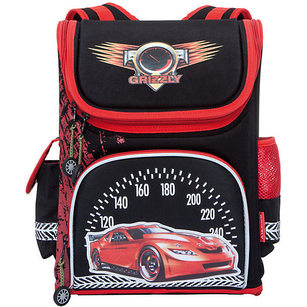 Рюкзак школьный Grizzly, чёрныйРюкзаки<br>Характеристики:<br><br>• возраст от: 6 лет;<br>• цвет: черный;<br>• материал: неопрен, нейлон;<br>• размер рюкзака: 28х37х16 см.;<br>• объем рюкзака: средний ( 20 л.);<br>• вес рюкзака:900 гр.;<br>• тип рюкзака: школьный;<br>• ососбенности: отделение-органайзер, светоотражающие вставки, брелок;<br>• спинка: ортопедическая, воздухопроницаемая;<br>• тип застёжки: молния;<br>• количество отделений: 1 отделения;<br>• количество карманов: 3 внешних/6 внутренних;<br>• дополнительная ручка-петля;<br>• износостойкая обивка;<br>• регулируемые анатомические лямки;<br>• стильный дизайн;<br>• бренд, страна бренда: Grizzly, Россия.<br><br>Школьный ранец Grizzly для мальчика - это красивый и удобный ранец, который подойдет всем, кто хочет разнообразить свои школьные будни. Многофункциональный ранец станет незаменимым спутником вашего ребенка в походах за знаниями.  <br><br>Ранец выполнен из легкого, водонепроницаемого и устойчивого к деформации материала, благодаря чему ранец держит форму и способствует равномерному распределению нагрузки на плечи и спину. Ранец имеет одно вместительное отделение на застежке-молнии. Внутри отделения находятся два открытых кармана и карман с сеткой. По бокам ранца располагаются, один открытый карман на резинке и один карман на липучке. На лицевой части ранца находится один накладной вместительный карман на молнии. Плечевые лямки анатомической формы с регулируемой длиной обеспечивают комфортную посадку ранца и свободу движений при ношении. Светоотражающие элементы, расположенные по всем сторонам ранца, гарантируют видимость во дворе и на улице в темное время суток. Ранец оснащен удобной ручкой для переноски. Ранец декорирован брелоком-машинкой, который светится.<br><br>Школьный ранец Grizzly для мальчика, черный, можно купить в нашем интернет-магазине.<br>Ширина мм: 280; Глубина мм: 160; Высота мм: 370; Вес г: 900; Цвет: черный; Возраст от месяцев: 120; Возраст до месяцев: 2147483647; Пол: Мужской; Возраст: