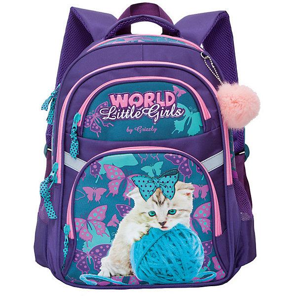 Рюкзак школьный Grizzly, фиолетовый/изумрудныйРюкзаки<br>Характеристики:<br><br>• возраст от: 6 лет;<br>• цвет: фиолетовый;<br>• материал: нейлон;<br>• размер рюкзака: 28х41х20 см.;<br>• объем рюкзака: маленький (до 20 л.);<br>• вес рюкзака:880 гр.;<br>• тип рюкзака: повседневный, школьный;<br>• ососбенности: пенал-органайзер, светоотражающие вставки, брелок-игрушка;<br>• спинка: анатомическая, воздухопроницаемая;<br>• дно: жетское, откидное;<br>• тип застёжки: молния;<br>• количество отделений: 2 отделения;<br>• количество карманов: 4 внешних/2 внутренних;<br>• дополнительная ручка-петля;<br>• износостойкая обивка;<br>• регулируемые укрепленные лямки;<br>• стильный дизайн;<br>• бренд, страна бренда: Grizzly, Россия.<br><br>Школьный рюкзак Grizzly для девочки - это красивый и удобный рюкзак, который подойдет всем, кто хочет разнообразить свои школьные будни. Многофункциональный школьный рюкзак станет незаменимым спутником вашего ребенка в походах за знаниями. <br><br>Рюкзак выполнен из полиэстера и дополнен брелоком-игрушкой. Рюкзак имеет два вместительных отделения на застежках-молниях с двумя бегунками. На лицевой стороне расположены два кармана на молниях, один из которых содержит органайзер. По бокам расположены два сетчатых кармана. Дно рюкзака можно сделать жестким, разложив специальную панель, что повышает сохранность содержимого рюкзака и способствует правильному распределению нагрузки. Рюкзак оснащен удобной текстильной ручкой для переноски в руке, петлей для подвешивания на крючок и светоотражающими элементами. Широкие регулируемые лямки рюкзака и воздухопроницаемая спинка предохраняют мышцы спины ребенка от перенапряжения при длительном ношении.<br><br>Школьный рюкзак Grizzly для девочки фиолетовый, можно купить в нашем интернет-магазине.<br>Ширина мм: 290; Глубина мм: 40; Высота мм: 390; Вес г: 870; Цвет: фиолетовый; Возраст от месяцев: 120; Возраст до месяцев: 2147483647; Пол: Женский; Возраст: Детский; SKU: 8339172;