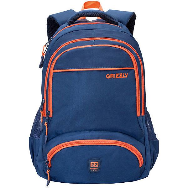 Рюкзак Grizzly, синий/оранжевыйРюкзаки<br>Характеристики:<br><br>• возраст от: 10 лет;<br>• цвет: синий/оранжевый;<br>• материал: нейлон;<br>• размер рюкзака: 31х48х24 см.;<br>• объем рюкзака: средний (20- 30 л.);<br>• вес рюкзака: 800 гр.;<br>• тип рюкзака: повседневный, городской;<br>• наполнение: органайзер для принадлежностей;<br>• ососбенности: брелок для ключей, укрепленное дно;<br>• спинка: жёсткая вставка;<br>• тип застёжки: молния;<br>• количество отделений: 2 основных отделения.;<br>• количество карманов: 4 внешних/ 2 внутренних;<br>• дополнительная ручка-петля;<br>• износостойкая обивка выдержит любую погоду и прослужит не один год;<br>• регулируемые укрепленные лямки;<br>• стильный дизайн;<br>• бренд, страна бренда: Grizzly, Россия.<br><br>Рюкзак Grizzly молодежный выполнен из высококачественного нейлона, обеспечивая повышенную износостойкость. Рюкзак имеет ручку-петлю для подвешивания и две укрепленные лямки, длина которых регулируется с помощью пряжек. Модель имеет два основных отделения, которые дополнены внутренним подвесным карманом на молнии и карманом для ноутбука. Передняя сторона оснащена двумя объемными карманами на молнии. Боковые стенки дополнены объемными карманами из сетки. Тыльная сторона рюкзака имеет укрепленную спинку.<br><br>Рюкзак выполнен в ярком соченатнии цветов и станет верным и рациональным спутником во время путешествий и повседневной носки.<br><br>Рюкзак Grizzly, синий/оранжевый, можно купить в нашем интернет-магазине.<br>Ширина мм: 310; Глубина мм: 40; Высота мм: 480; Вес г: 800; Цвет: синий; Возраст от месяцев: 120; Возраст до месяцев: 2147483647; Пол: Мужской; Возраст: Детский; SKU: 8339180;