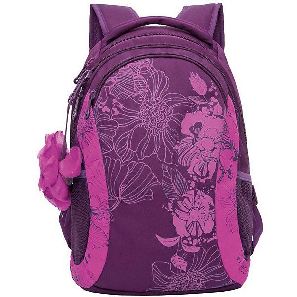 Рюкзак Grizzly, фиолетовый/розовыйРюкзаки<br>Характеристики:<br><br>• возраст от: 10 лет;<br>• цвет: фиолетовый/розовый;<br>• материал: полиэстер;<br>• размер рюкзака: 30х43х18 см.;<br>• объем рюкзака: маленький (до 20 л.);<br>• вес рюкзака: 560 гр.;<br>• тип рюкзака: повседневный, городской;<br>• ососбенности: пенал-органайзер, вставка-цветок;<br>• спинка: анатомическая;<br>• тип застёжки: молния;<br>• количество отделений: 2 отделения;<br>• количество карманов: 3 внешний/ 1 внутренний;<br>• дополнительная ручка-петля;<br>• износостойкая обивка;<br>• регулируемые укрепленные лямки;<br>• стильный дизайн;<br>• бренд, страна бренда: Grizzly, Россия.<br><br>Рюкзак Grizzly с цветочным принтом - это красивый и удобный рюкзак подойдет всем девчонкам, которые хотят разнообразить свои будни. Рюкзак дополнен вставкой-цветком.  Такой функциональный рюкзак не оставит равнодушной ни одну юную модницу.<br><br>Женский рюкзак с анатомической спинкой изготовлен из полиэстера и имеет два отделения, карман на молнии на передней стенке, боковые карманы из сетки, внутренний карман на молнии, внутренний составной пенал-органайзер. Рюкзак оснащен двумя широкими мягкими лямками регулируемой длины и удобной короткой ручкой.<br><br>Рюкзак Grizzly, фиолетовый/розовый, можно купить в нашем интернет-магазине.<br>Ширина мм: 300; Глубина мм: 40; Высота мм: 430; Вес г: 560; Цвет: фиолетовый; Возраст от месяцев: 120; Возраст до месяцев: 2147483647; Пол: Женский; Возраст: Детский; SKU: 8339206;