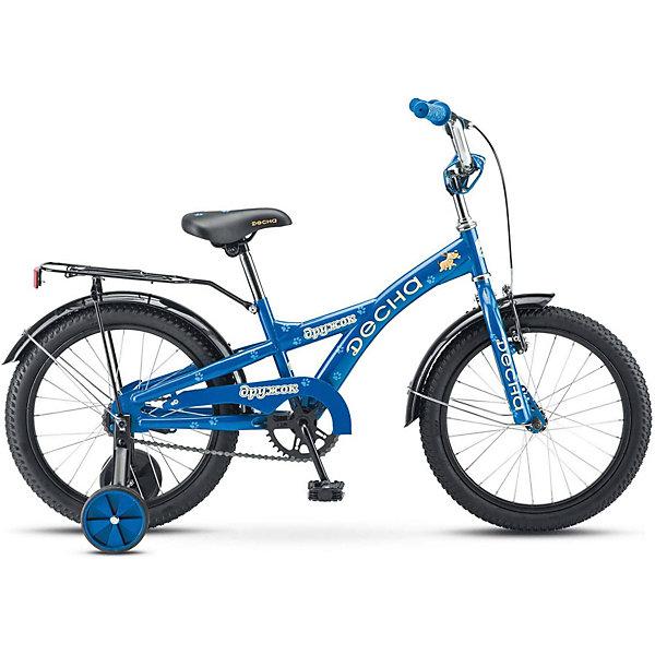Двухколёсный велосипед Десна Дружок 16 Z010 9.5, синийВелосипеды и аксессуары<br>Характеристики товара:<br><br>• возраст: от 6 лет;<br>• материал рамы: сталь;<br>• диаметр колёс: 18 см.;<br>• вес: 13,5 кг.;<br>• размер упаковки: 97х19х48 см.<br><br>Велосипед Десна Дружок 18 предназначен для детей в возрасте от 4 до 8 лет, без переключения передач.<br><br>Подходит для обучения и легких прогулок. Прочная стальная рама и ножные педальные тормоза обеспечивают велосипеду надежность и безопасность, а 18-дюймовые колеса «обуты» в толстые покрышки для максимального сцепления с дорогой. <br><br>Благодаря съемным боковым колесикам велосипед более устойчив, что положительно сказывается на процессе обучения.<br><br>Детский велосипед Десна Дружок 18 можно купить в нашем интернет-магазине.<br>Ширина мм: 970; Глубина мм: 190; Высота мм: 480; Вес г: 13500; Цвет: синий; Возраст от месяцев: 72; Возраст до месяцев: 108; Пол: Унисекс; Возраст: Детский; SKU: 8341707;