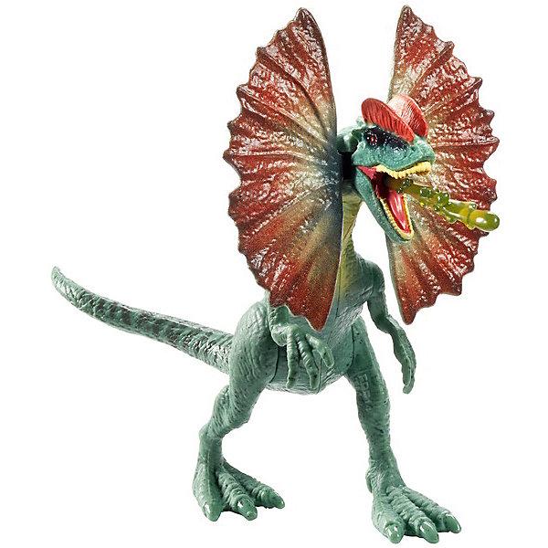 Фигурка динозавра Jurassic World Атакующая стая, ДилофозаврИгровые фигурки животных<br>Характеристики:<br><br>• возраст: от 3 лет;<br>• материал: пластик;<br>• вес упаковки: 100 гр.;<br>• размер упаковки: 16х21х6 см;<br>• страна бренда: США.<br><br>Фигурка динозавра Mattel Jurassic World из серии «Атакующая стая» – детализированная копия дилофозавра из фильма «Мир юрского периода 2». Фигурка в точности изображает особь вымершего вида, стоит в характерной позе, рельеф кожи подробно проработан.<br><br>Конечности игрушки максимально подвижны благодаря шарнирным соединениям. Фигурка отлично подходит для воспроизведения сцен фильма или собственных игровых сюжетов. Сделано из прочного качественного пластика.<br><br>Фигурку динозавра Jurassic World «Атакующая стая», Дилофозавр можно купить в нашем интернет-магазине.<br>Ширина мм: 60; Глубина мм: 210; Высота мм: 160; Вес г: 120; Возраст от месяцев: 48; Возраст до месяцев: 2147483647; Пол: Мужской; Возраст: Детский; SKU: 8395563;