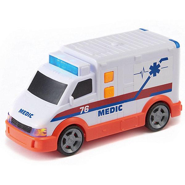 Машинка HTI Roadsterz Скорая помощь, 15 смМашинки<br>Характеристики:<br><br>• возраст: от 3 лет;<br>• материал: пластик;<br>• длина игрушки: 15 см;<br>• тип батареек: 3хААА;<br>• наличие батареек: в комплекте;<br>• вес упаковки: 670 гр.;<br>• размер упаковки: 9х18х11 см;<br>• страна бренда: Великобритания.<br><br>Мини-скорая помощь HTI Roadsterz имеет компактные размеры и реалистичный дизайн. Игру с фургоном сопровождают характерные звуки и световые эффекты. Корпус игрушки проработан, отдельные части тщательно прорисованы. Краски игрушки не теряют яркость со временем. Сделано из прочного качественного пластика.<br><br>Мини-скорую помощь Roadsterz 15 см (свет, звук) можно купить в нашем интернет-магазине.<br>Ширина мм: 9; Глубина мм: 18; Высота мм: 11; Вес г: 670; Цвет: белый; Возраст от месяцев: 36; Возраст до месяцев: 2147483647; Пол: Унисекс; Возраст: Детский; SKU: 8420791;
