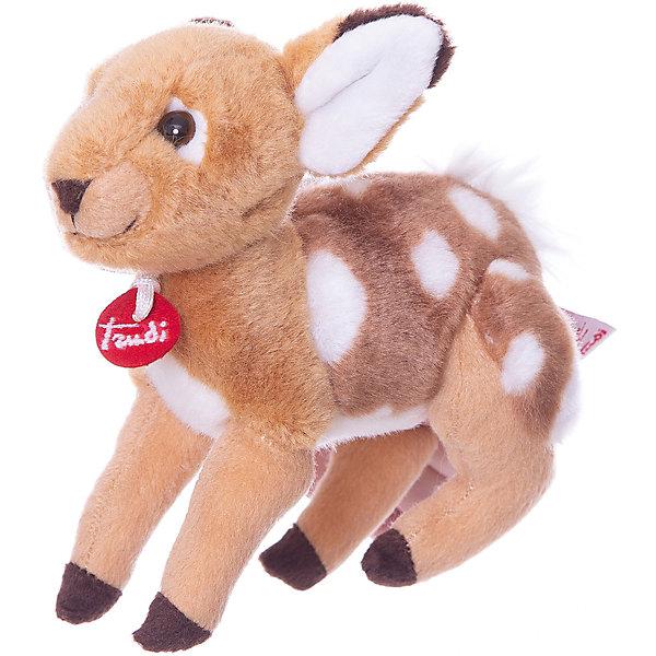 Мягкая игрушка Trudi Олененок, 15 смМягкие игрушки животные<br>Характеристики:<br><br>• возраст: от 1 года;<br>• материал: плюш, пластик;<br>• высота игрушки: 15 см;<br>• вес упаковки: 97 гр.;<br>• размер упаковки: 14х39х15 см;<br>• страна бренда: Италия.<br><br>Мягкая игрушка Trudi выполнена в виде крошки олененка с выразительными глазками. Игрушка невероятно приятна на ощупь, качественный плюш долго сохраняет первоначальный внешний вид. Игрушка надежно прошита, подходит для машинной стирки при температуре 30 градусов.<br><br>Мягкие игрушки Trudi соответствуют высоким требованиям к качеству детских товаров.<br><br>Мягкую игрушку Trudi «Олененок» (делюкс), 15 см можно купить в нашем интернет-магазине.<br>Ширина мм: 14; Глубина мм: 39; Высота мм: 15; Вес г: 97; Цвет: коричневый; Возраст от месяцев: 12; Возраст до месяцев: 2147483647; Пол: Унисекс; Возраст: Детский; SKU: 8420917;