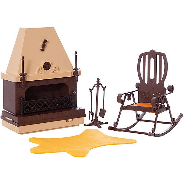 Набор мебели для каминной комнаты Коллекция ОгонекМебель для кукол<br>Набор игрушечной мебели для каминной комнаты из серии Коллекция. <br>Набор порадует любую девочку, она по достоинтсву оценит тот уют и комфорт, который создаст в ее кукольном домике этот дизайнерский набор.<br>Изготовлен набор в классическом стиле, в коричнево-бежевых цветах.<br>В наборе: кресло-качалка, камин, шкура на пол из искусственного меха и подставка для кочерги и лопаты. Для имитации пламени в камине установлена лампа, работающая от солевой батарейки размера 3R12 (3336). <br>Все детали выполнены из высококачественного пластика. <br>Упаковка -  подарочная картонная коробка<br>Ширина мм: 225; Глубина мм: 185; Высота мм: 115; Вес г: 323; Цвет: бежевый/коричневый; Возраст от месяцев: 36; Возраст до месяцев: 120; Пол: Женский; Возраст: Детский; SKU: 8688391;
