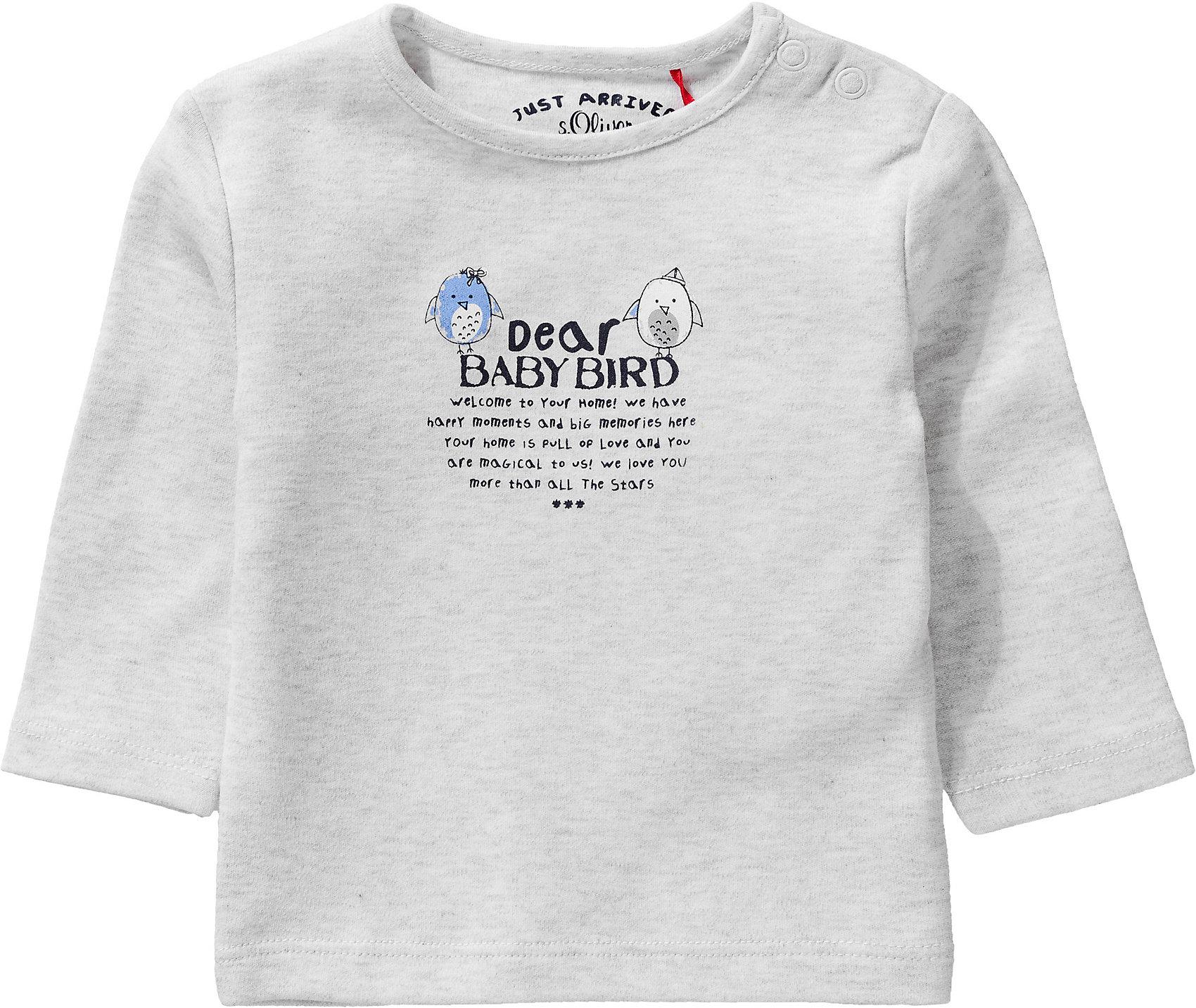 Neu s.Oliver Baby Langarmshirt 10297244 für Jungen grau