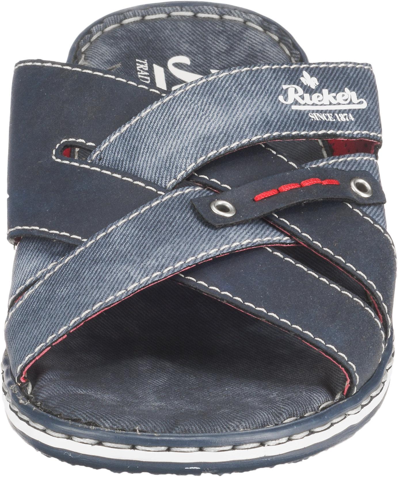 Neu rieker Pantoletten 10612911 für Herren blau schwarz