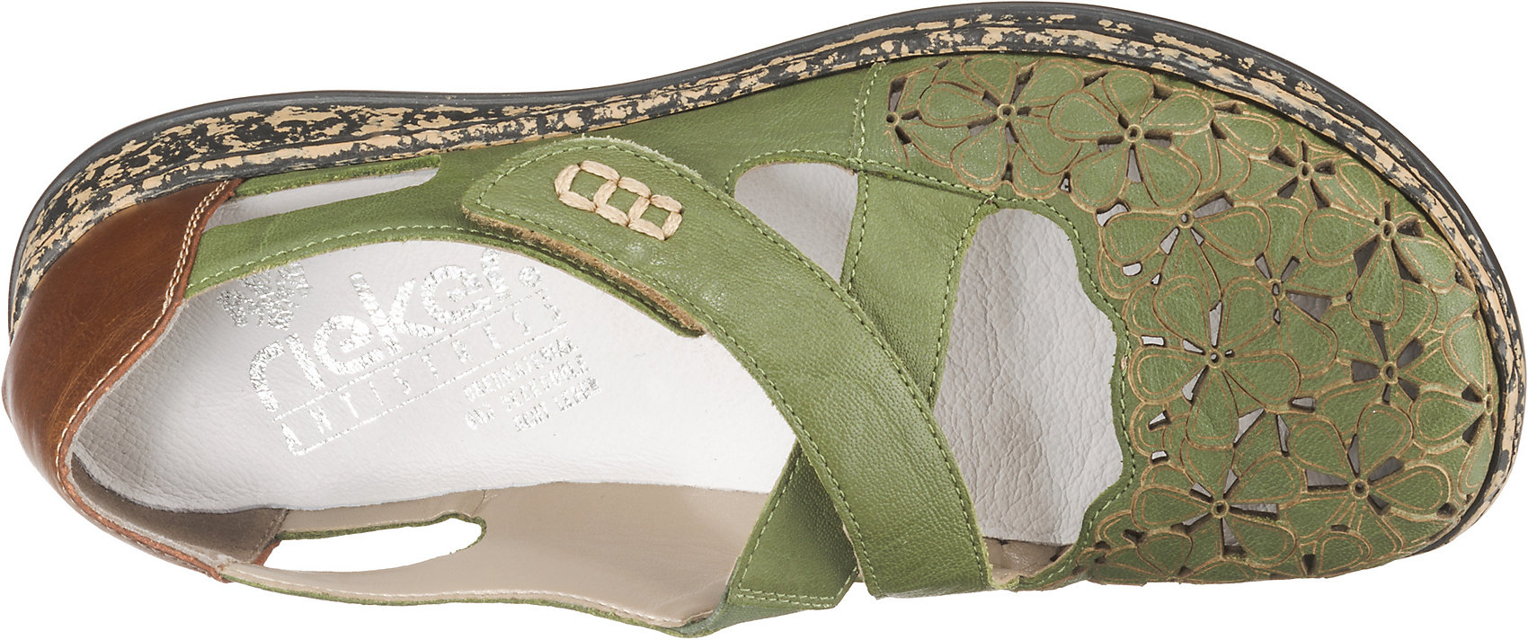 Neu rieker Ballerinas 10626003 für Damen grün blau-kombi