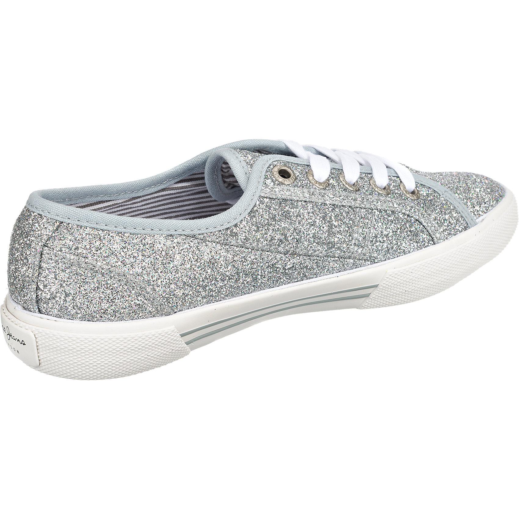 finest selection dfa67 0d292 Details zu Neu Pepe Jeans Aberlady Flash Sneakers silber gold 5769757