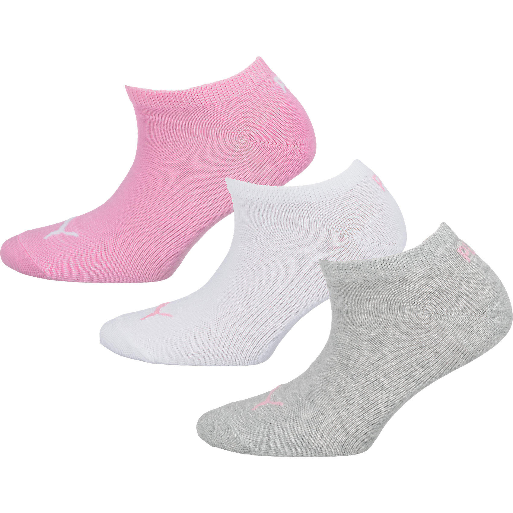 neu puma 3 paar sneaker socken wei rosa blau 5703329 ebay. Black Bedroom Furniture Sets. Home Design Ideas