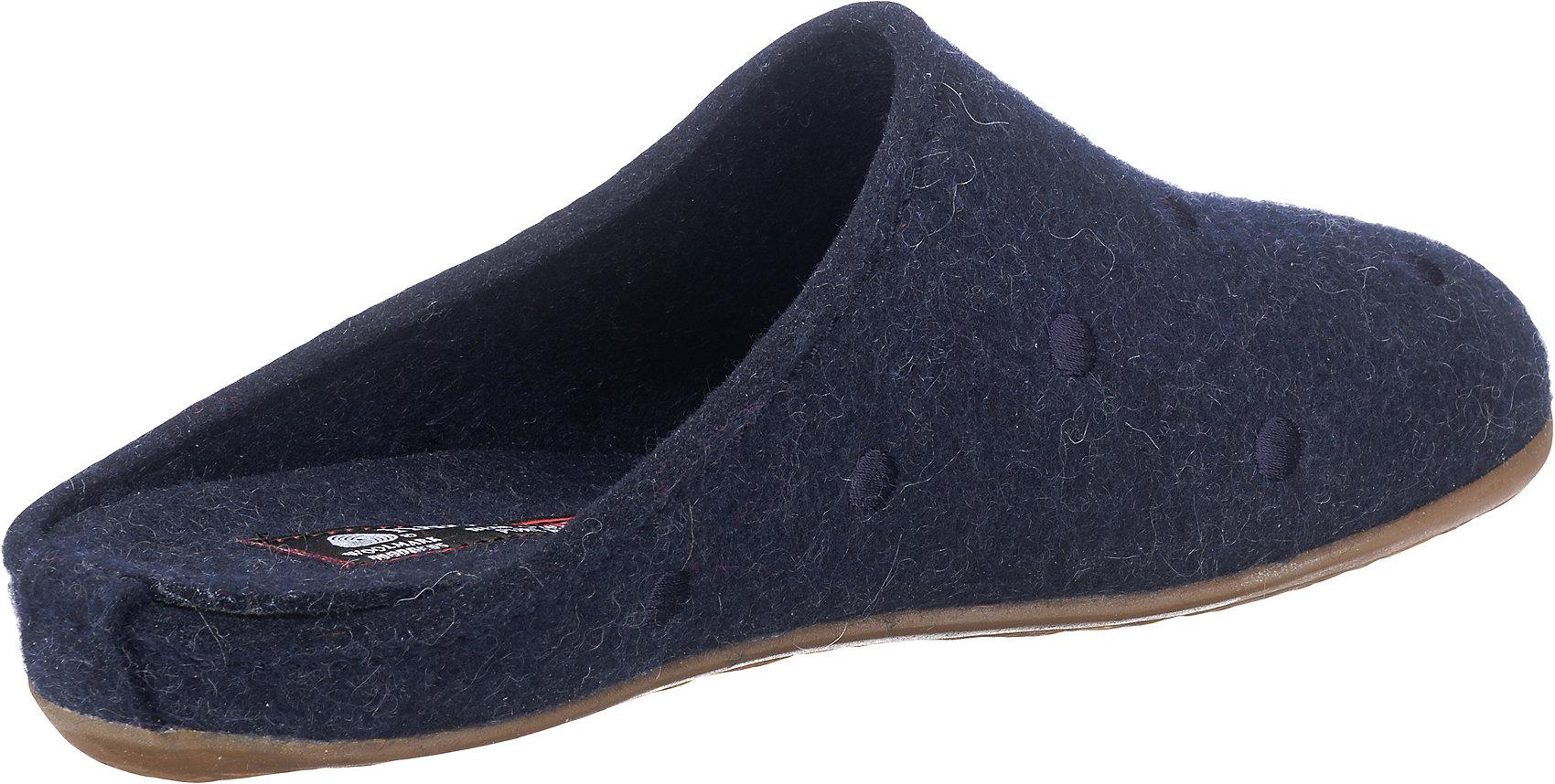 Neu HAFLINGER Noblesse Pantoffeln 6727396 für Damen dunkelblau