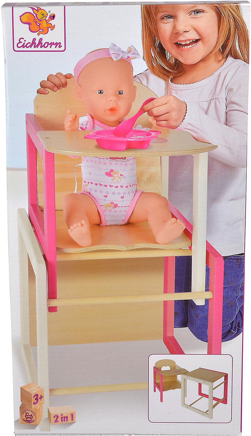 Neu Eichhorn Puppenhochstuhl mit Tisch 2 in 1 8279051 weiß/beige Babypuppen & Zubehör