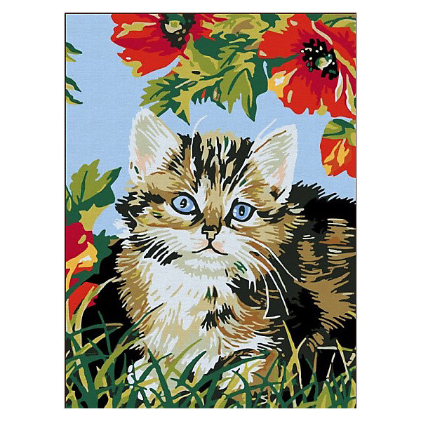 Color KIT Картина по номерам Котёнок в цветах, 30х40 см