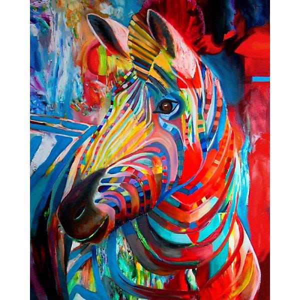 Color KIT Алмазная картина-раскраска Color KIT Радужная зебра, 40х50 см