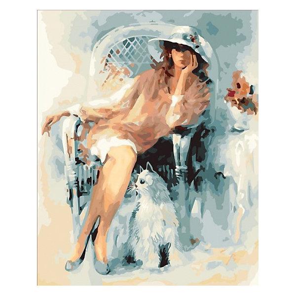 Купить Картина по номерам Color KIT Дама и кот , 40х50 см, Россия, разноцветный, Унисекс