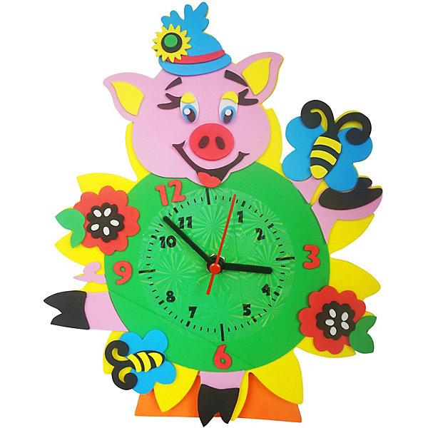 Color KIT Набор для творчества Color KIT Часы из фоамирана Хрюшка, 24х24 см набор для творчества альт декоративные наклейки из фоамирана набор 16 фиалки