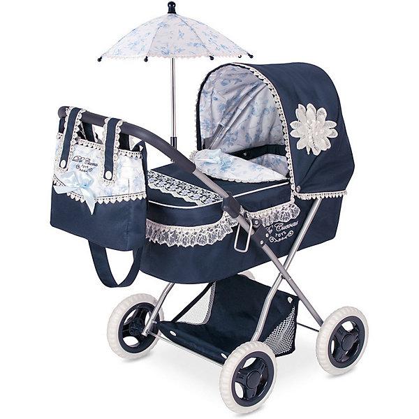 Коляска для кукол DeCuevas Романтик с сумкой и зонтиком, 60 смТранспорт и коляски для кукол<br>Характеристики:<br><br>• возраст: от 3 лет;<br>• материал: пластик, металл, текстиль;<br>• коллекция: «Романтик»;<br>• складная: да;<br>• в наборе: коляска, матрас, подушка, сумочка, зонтик, сетка для вещей;<br>• размер игрушки: 60х38х65 см;<br>• вес упаковки: 2,8 кг;<br>• размер упаковки: 34х9х52 см;<br>• страна бренда: Испания.<br><br>Коляска для кукол DeCuevas «Романтик» выполнена в классическом стиле, украшена рюшами. Козырек люльки опускается, внутри предусмотрены матрасик и подушка. Колеса прорезинены, поэтому коляской легко управлять. Шасси складывается.
