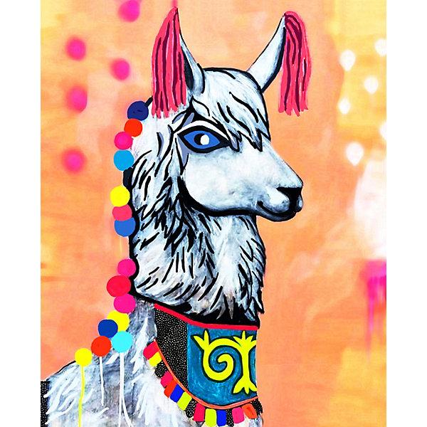 Color KIT Алмазная мозаика Color KIT Нарядная лама, 17х21 см chic plaid pattern fringed multifunctional loop yarn scarf for women
