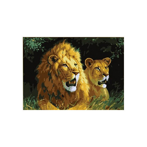 Color KIT Алмазная мозаика Color KIT Львиная семья, 40х50 см