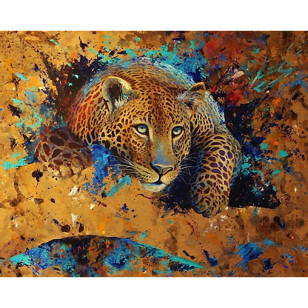 Color KIT Алмазная картина-раскраска Леопард, 40х50 см