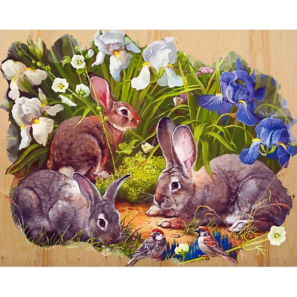 Купить Картина по номерам на дереве Color KIT Кролики и воробышек , 40х50 см, Россия, разноцветный, Унисекс