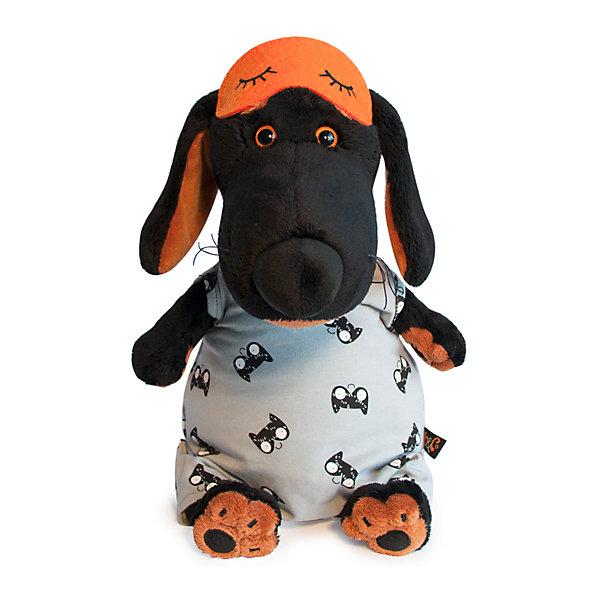 Купить Мягкая игрушка Budi Basa Собака Ваксон в спальном комбинезоне и в маске, 25 см, Россия, черный, Женский