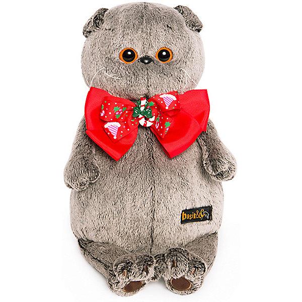 Budi Basa Мягкая игрушка Budi Basa Кот Басик в новогоднем банте, 25 см мягкая игрушка басик в пижаме 30 см