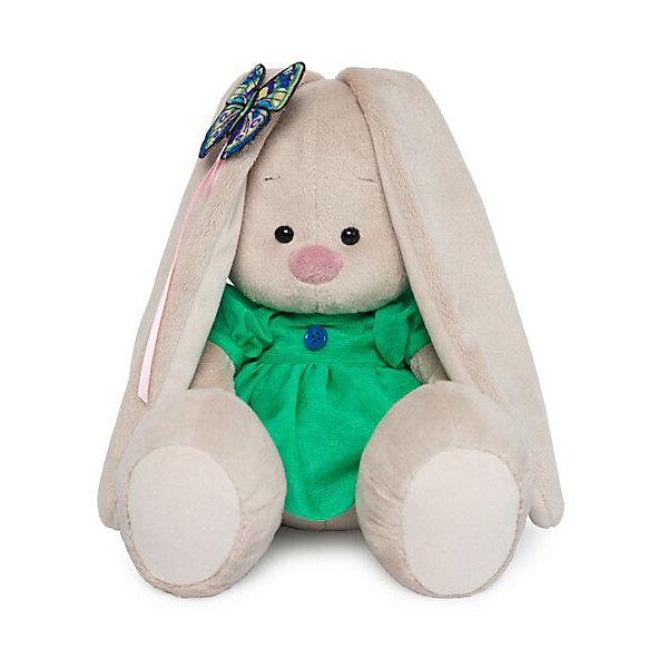 Budi Basa Мягкая игрушка Зайка Ми в зеленом платье с бабочкой, 18 см