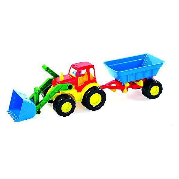 Zebratoys Трактор Zebratoys Active с ковшом и прицепом, 59 см строительная техника технопарк трактор с прицепом 1801c 1bcd r 17 см