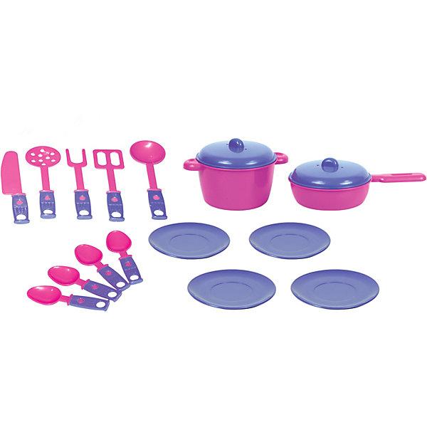 Купить Набор игрушечной посудки Zebratoys Обед , 18 предметов, Россия, розовый/розовый, Унисекс
