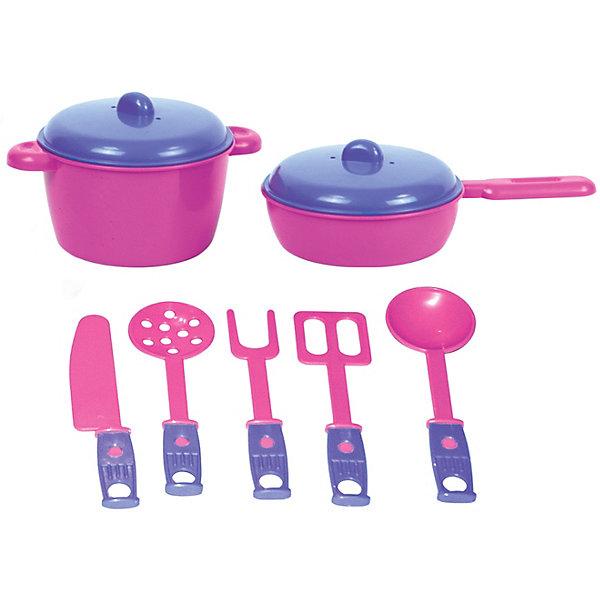 Купить Набор игрушечной посудки Zebratoys Повар , 7 предметов, Россия, розовый/розовый, Унисекс