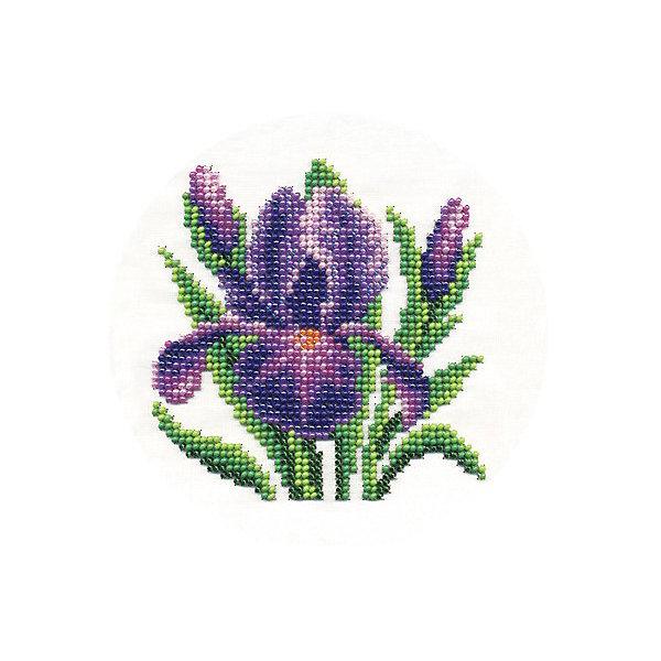 Klart Набор для вышивания бисером Klart Нежный ирис, 13х13 см канва с рисунком для вышивания бисером hobby
