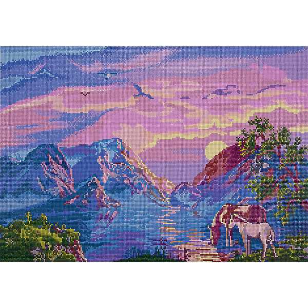 Фрея Алмазная мозаика Водопой в горах, 54х38 см