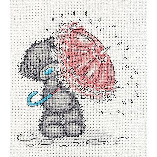 Klart Набор для вышивания мулине Klart Tatty Teddy с зонтиком, 17,5х19,5 см канва с рисунком для вышивания бисером hobby