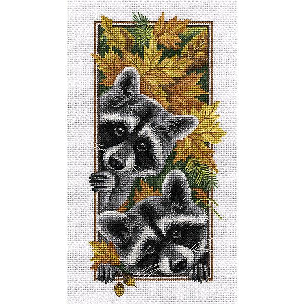Panna Набор для вышивания Бэкстич Любопытные еноты, 15х27 см
