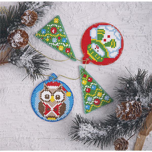 Фрея Алмазная мозаика Фрея Сова и елочка 4 новогодние игрушки, 8х9 см майка борцовка print bar новогодние игрушки