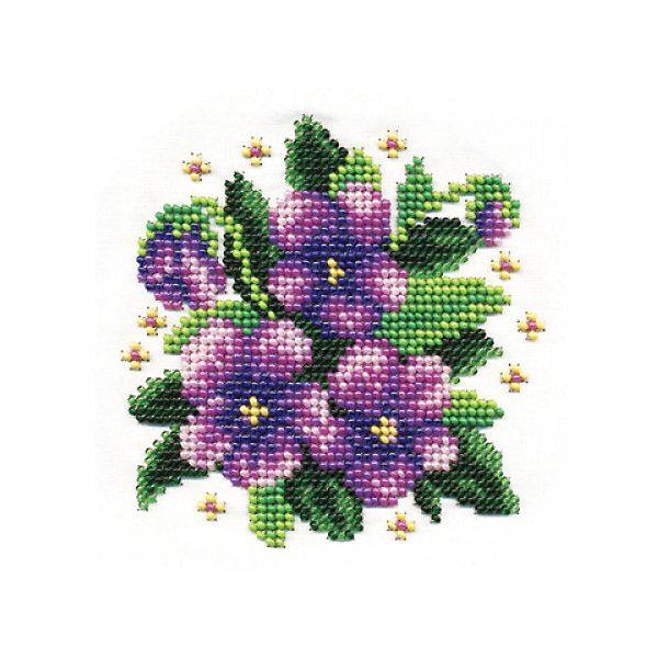 Klart Набор для вышивания бисером Klart Фиалки, 13х13 см набор для вышивания бисером аквилегия с паспарту 18 см х 24 см 76 бп