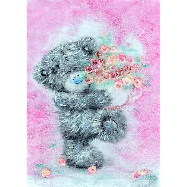 Woolla Набор для валяния Woolla Шерстяная акварель Татти Тедди с цветами, 21х30 см павловопосадская шерстяная шаль с шелковой бахромой волшебный узор 148х148 см