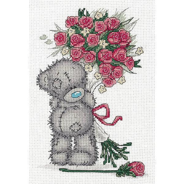 Klart Набор для вышивания мулине Tatty Teddy с букетом роз, 16х23 см