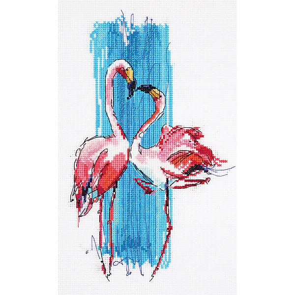 Panna Набор для вышивания Panna Бэкстич Розовые фламинго, 17х25 см канва с рисунком для вышивания бисером hobby