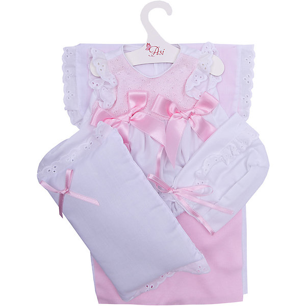 куклы и одежда для кукол asi одежда для кукол 60 см 0000092 Asi Одежда для кукол Asi Платье и чепчик с одеялом и подушкой, 45 см