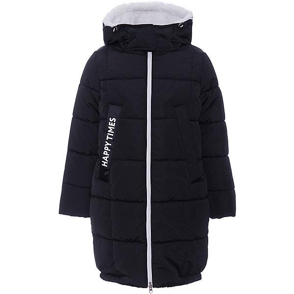 Куртка BOOM by Orby для девочкиВерхняя одежда<br>Характеристики товара:<br><br>• цвет: черный <br>• состав ткани верха: твил pu milky<br>• подкладка: флис, ПЭ пуходержащий<br>• утеплитель: Flexy Fiber 400 г/м2 <br>• отделка: искусственный мех<br>• сезон: зима<br>• температурный режим: от -25 до -15С<br>• особенности модели: удлиненная, с капюшоном, функциональная<br>• застежка: молния <br>• страна бренда: Россия<br>• страна-изготовитель: Россия<br><br>Благодаря удлиненной форме куртка для девочек хорошо защищает от холода всё тело до колен. Эта детская куртка имеет вместительные карманы. Детская куртка - с капюшоном, теплая и удобная. Материал верха куртки для детей - прочный, подкладка - мягкая и приятная на ощупь. Детская одежда от известного бренда BOOM by Orby поможет ребенку одеться тепло и модно.
