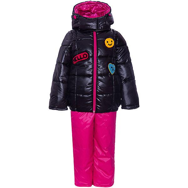 Комплект BOOM by Orby для девочкиВерхняя одежда<br>Характеристики товара:<br><br>• брюки до 122 роста идут с подтяжками, от 128 до 170 без подтяжек <br>• комплектация: куртка, полукомбинезон<br>• состав ткани верха: болонь pu milky<br>• подкладка: флис, ПЭ пуходержащий, поликоттон<br>• утеплитель: FiberSoft 400 г/м2 200 г/м2<br>• сезон: зима<br>• температурный режим: от -25 до -10 С<br>• особенности модели: с капюшоном, функциональность<br>• застежка: молния <br>• страна бренда: Россия<br>• страна-изготовитель: Россия<br><br>Детский комплект - это дутая курточка и утепленный полукомбинезон. Комплект для детей отличается наличием мягкой подкладки и качественного наполнителя. Куртка из комплекта для ребенка украшена стильными аппликациями. Детская одежда от известного бренда BOOM by Orby выглядит стильно, при этом долго служит и отлично выполняет свою функцию.